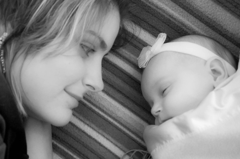 A new mum in love with her baby